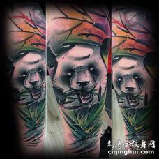 水彩风格的彩色猫熊吃竹子手臂纹身图案
