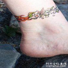 脚链花朵植物彩色脚踝纹身图案