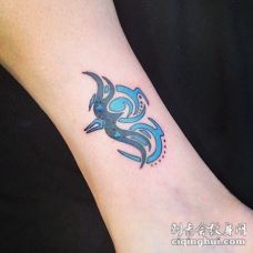可爱的彩色射手座符号脚踝纹身图案