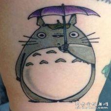 可爱卡通龙猫彩色纹身图案