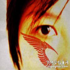 脸部红色的天使翅膀纹身图案