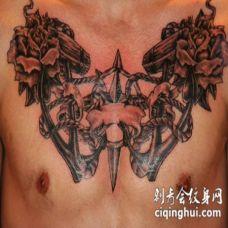 胸部大型帆船主题艺术纹身图案