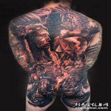 男性全身北美土著主题部落人像纹身图案