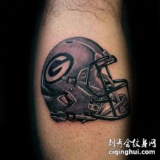 美式橄榄球头盔彩色小腿纹身图案
