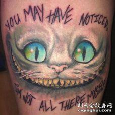 彩色的柴郡猫微笑艺术纹身图案