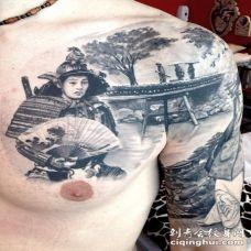 半甲日本景观和武士肖像纹身图案