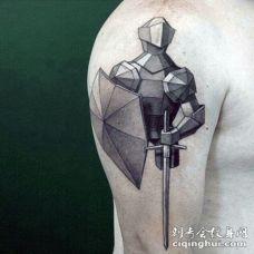 手臂抽象风格的黑白中世纪骑士纹身图案