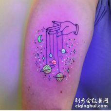 夜光纹身 荧光tattoo纹身对比效果图片