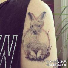 手背可爱的白色小兔子纹身图案