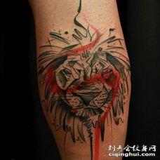 抽象风格彩色的狮子头纹身图案
