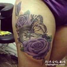 大腿3D彩色指南针与鲜花蝴蝶纹身图案