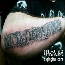 手臂3D彩色的拉丁字体纹身图案