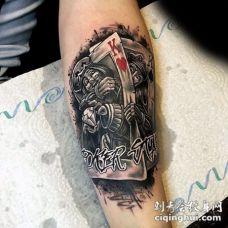 手臂3D彩色的神秘扑克牌纹身图案