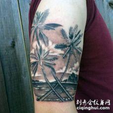 3D非常逼真的棕榈树与海洋大臂纹身图案