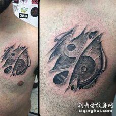 非常逼真的3D标志和撕皮胸部纹身图案