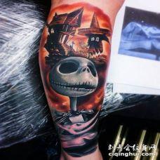 手臂3D风格的彩色卡通怪物纹身图案
