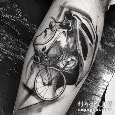 手臂3D点刺自行车手黑色纹身图案