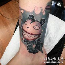 脚踝有趣的3D彩色卡通怪物猫纹身图案