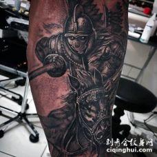 小腿很酷的3D风格中世纪骑士纹身图案
