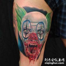 大腿3D彩色的血腥邪恶小丑纹身图案