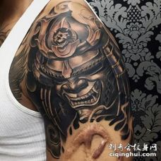大臂3D风格彩色的邪恶武士纹身图案