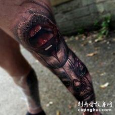 腿部恐怖风格彩色3D血腥怪物纹身图案