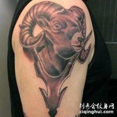 手臂3D风格彩色的山羊头纹身图案