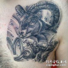 胸部3D黑白山羊头和符号纹身图案