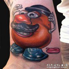 手臂3D搞笑的卡通神奇豆纹身图案