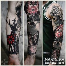 手臂3D装饰风格神秘女子和动物纹身图案