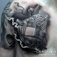 胸部3D雕刻风格机械心脏纹身图案
