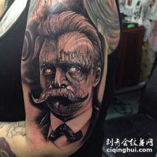 手臂令人难以置信的3D恶魔大胡子男人纹身图案