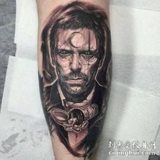 小腿3D风格的黑色恶魔男性纹身图案