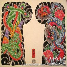 日式传统凤凰蛇花朵半甲纹身图案手稿