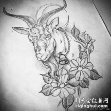 school山羊花卉黑灰纹身图案手稿