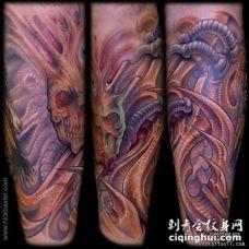 小腿彩色异形怪物纹身图案