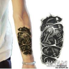 小臂金属机械3d黑灰纹身图案