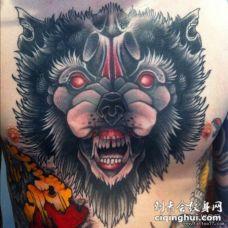 胸部school狼头纹身图案