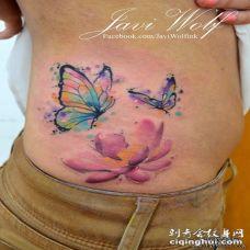 侧腰莲花蝴蝶彩色泼墨纹身图案