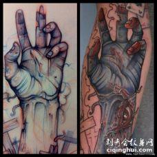 欧美小臂手纹身图案手稿