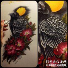 欧美school乌鸦花卉遮盖纹身图案手稿