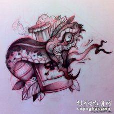 欧美school蛇瓶子纹身图案手稿