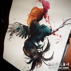 欧美school写实公鸡泼墨彩绘纹身图案手稿