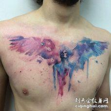 胸部泼墨彩绘翅膀天使纹身图案
