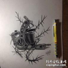 纹身机写实纹身图案手稿