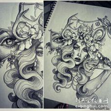 欧美女郎眼睛花卉写实纹身图案手稿