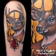 大臂欧美school鹿宝石纹身图案