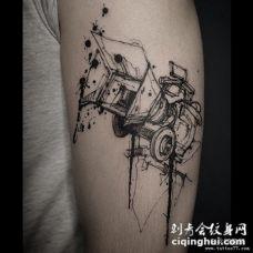 欧美泼墨线条汽车个性纹身图案
