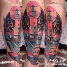 小腿school灯塔帆船彩绘纹身图案