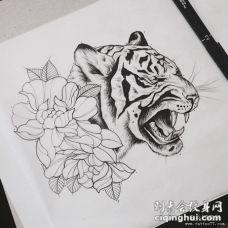 欧美school写实老虎花卉纹身图案手稿